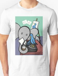 Elephant and the Bird - Coffee Break Unisex T-Shirt