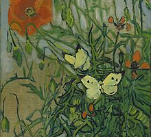 Vincent Van Gogh  - Butterflies and poppies, 1890 by famousartworks