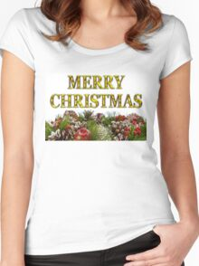 Merry Christmas With Decorative Wreath Women's Fitted Scoop T-Shirt