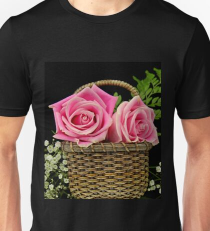 A basket of pink Roses Unisex T-Shirt