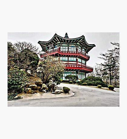 Old Korean Architecture Linen / Canvas Digital Painting Photographic Print