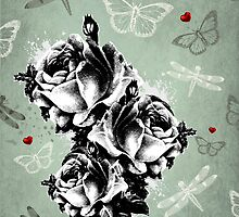 Abstract Roses, Butterflies and Dragonflies by RumourHasIt