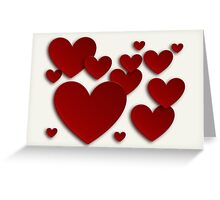 Red Three Dimensional Hearts Greeting Card