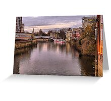 Sunset over River Ouse in York. Greeting Card