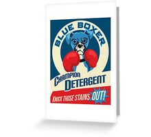 Blue Boxer Dog Champion Detergent Retro Poster- original art Greeting Card