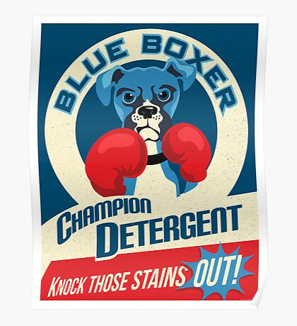 Blue Boxer Dog Champion Detergent Retro Poster- original art Poster