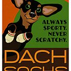 Happy Dachshund in Socks Retro poster design- original art by DKMurphy