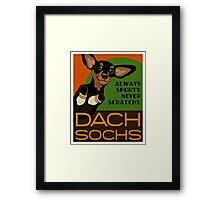 Happy Dachshund in Socks Retro poster design- original art Framed Print