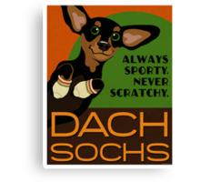 Happy Dachshund in Socks Retro poster design- original art Canvas Print