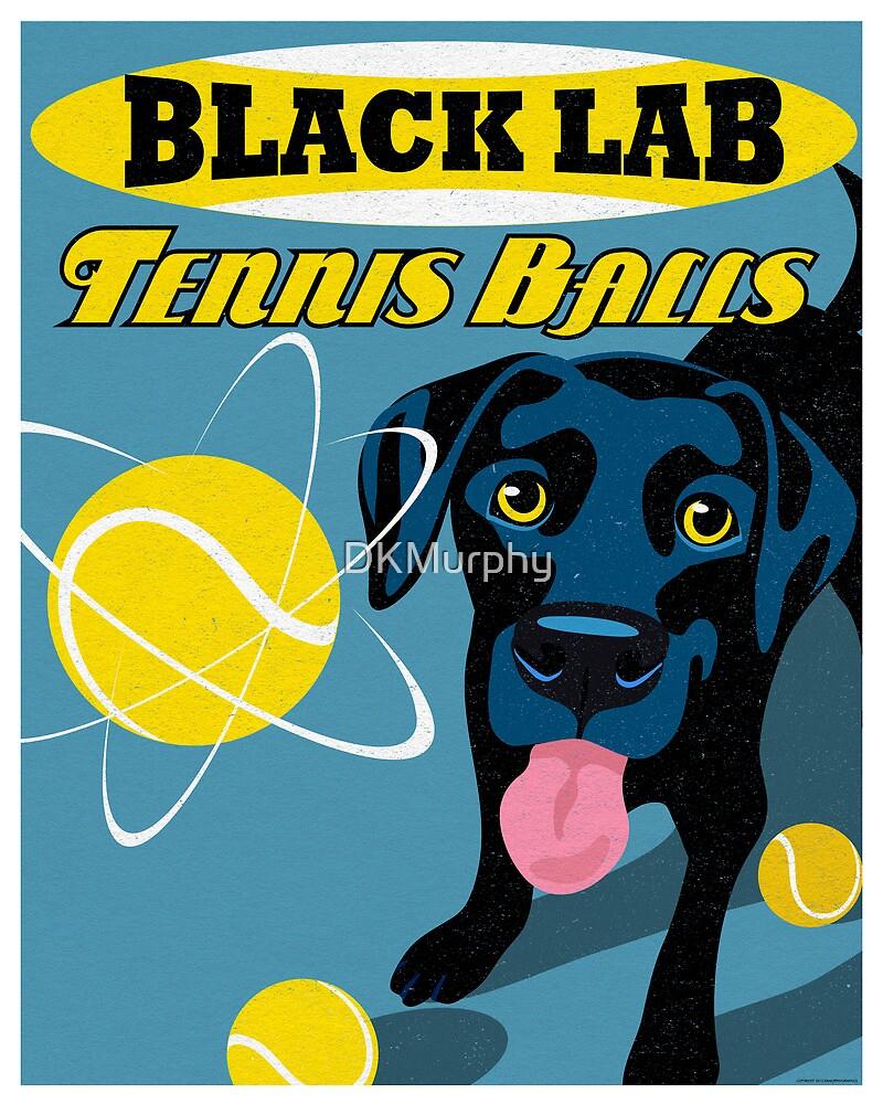 Labrador Retriever with Tennis Balls Retro Poster- original art by DKMurphy