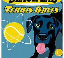 Labrador Retriever with Tennis Balls Retro Poster- original art by DKMurphy