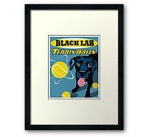 Labrador Retriever with Tennis Balls Retro Poster- original art Framed Print