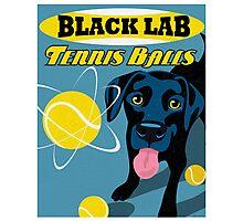 Labrador Retriever with Tennis Balls Retro Poster- original art Photographic Print