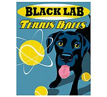 Labrador Retriever with Tennis Balls Retro Poster- original art Photographic Print