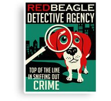 Red Beagle Detective Agency Retro Poster- original art Canvas Print