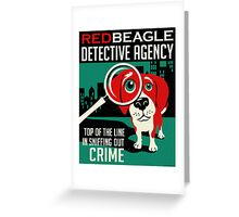 Red Beagle Detective Agency Retro Poster- original art Greeting Card