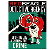 Red Beagle Detective Agency Retro Poster- original art Photographic Print