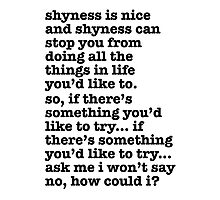 The Smiths Song Lyrics - shyness is nice... Photographic Print