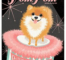 Pomeranian Dog with Powder Puff retro poster design- original art  by DKMurphy