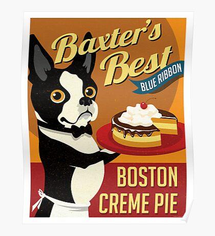 Boston Terrier Dog Baker retro poster design- original art  Poster