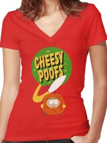 South Park Cheesy Poofs Women's Fitted V-Neck T-Shirt
