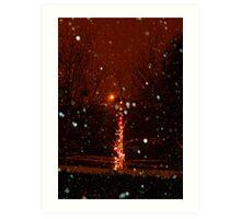 Snow And Lights Aglow Art Print
