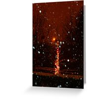 Snow And Lights Aglow Greeting Card
