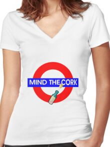 Mind the Cork Women's Fitted V-Neck T-Shirt