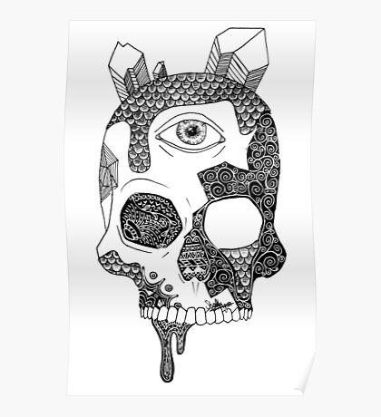 Abstract Skull Poster