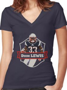 Dion Lewis - Patriots Women's Fitted V-Neck T-Shirt