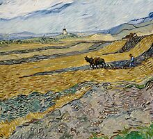 Vincent Van Gogh  - Enclosed Field with Ploughman, 1889 by famousartworks