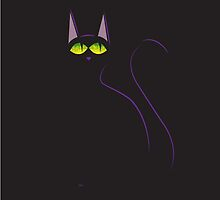 Black cat in black by AhaC