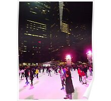 Night Time Skating, Bryant Park Skating Rink, Bryant Park, New York City Poster