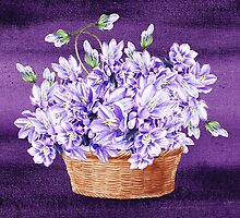 Basket With Purple Flowers by Irina Sztukowski