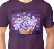 Basket With Purple Flowers Unisex T-Shirt