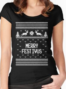 Merrry Festivus Ugly Holiday Sweater Women's Fitted Scoop T-Shirt