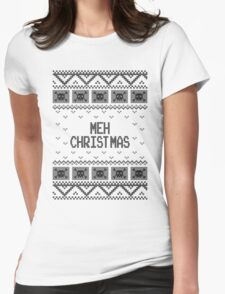 Christmas Meh Skull Ugly Holiday Sweater Womens Fitted T-Shirt