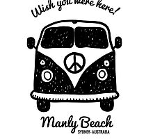 Manly - Wish you were here card by PopGraphics