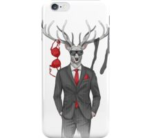 image of man with deer's head and lingerie items on horns iPhone Case/Skin