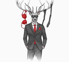 image of man with deer's head and lingerie items on horns T-Shirt