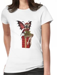 Christmas Fairy Elf Girl Sitting on a Present Womens Fitted T-Shirt