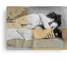 lovers on a patterned mattress Canvas Print