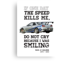 Paul Walker Tribute GTR - Halftone Canvas Print
