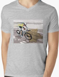 retro cycling poster Contador El Pistolero Mens V-Neck T-Shirt