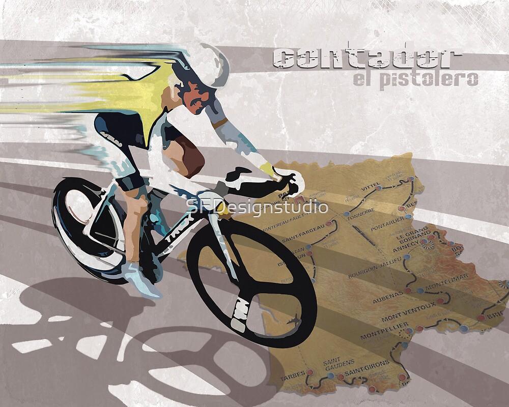 retro cycling poster Contador El Pistolero by SFDesignstudio