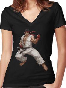 Street fighter-Ryu t shirt  Women's Fitted V-Neck T-Shirt