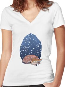 Sleeping Fawn Women's Fitted V-Neck T-Shirt