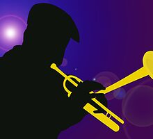 Silhouette of a Trumpet Player on a Blue / Purple Background by ibadishi