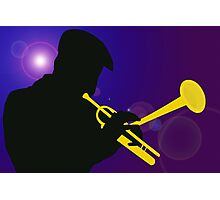 Silhouette of a Trumpet Player on a Blue / Purple Background Photographic Print