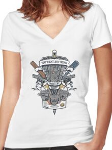 Three Flavours Crest Women's Fitted V-Neck T-Shirt